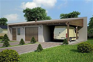 Projekt garażu G106 - Budynek garażowy z wiatą