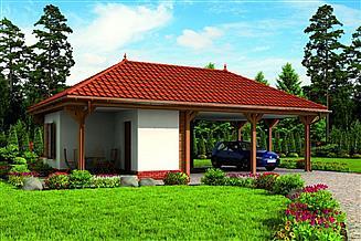 Projekt budynku gospodarczego G239 wiata garażowa dwustanowiskowa z pomieszczeniem gospodarczym
