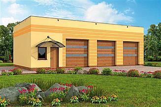 Projekt garażu G250 garaż trzystanowiskowy z pomieszczeniami gospodarczymi