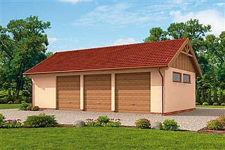 Projekt garażu G261 garaż trzystanowiskowy