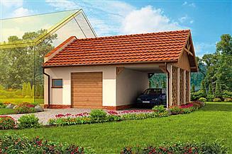Projekt garażu GP10 garaż dostawiany jednostanowiskowy z pomieszczeniem gospodarczym i wiatą