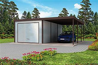 Projekt garażu GB3 Garaż blaszany jednostanowiskowu z wiatą