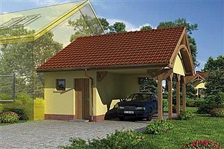 Projekt wiaty garażowej GP6 garaż dostawiany jednostanowiskowy z pomieszczeniem gospodarczym