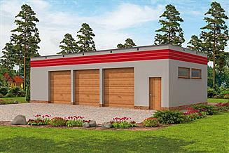 Projekt garażu G270 garaż trzystanowiskowy