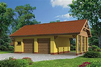 Projekt garażu G178 garaż dwustanowiskowy z wiatą garażową