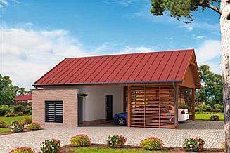 Projekt wiaty garażowej G280 wiata garażowa z pomieszczeniem gospodarczym