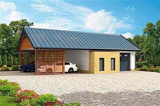Projekt garażu G282 garaż z wiatą i pomieszczeniami gospodarczymi