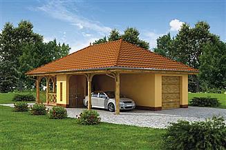 Projekt garażu G167 garaż z wiatą i pomieszczeniem gospodarczym