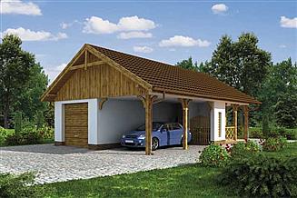 Projekt garażu G168 garaż z wiatą i pomieszczeniem gospodarczym