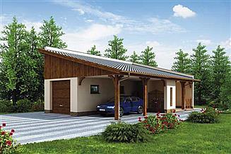 Projekt garażu G169 garaż z wiatą i pomieszczeniem gospodarczym