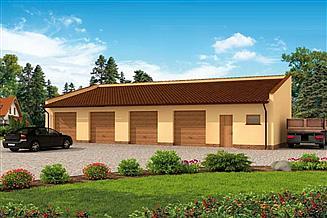 Projekt garażu G268 garaż czterostanowiskowy z pomieszczeniem gospodarczym