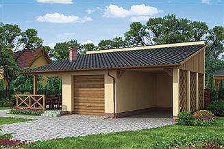 Projekt grilla / wędzarni G193 garaż dwustanowiskowy