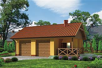 Projekt grilla / wędzarni G185 garaż dwustanowiskowy z wędzarnikiem
