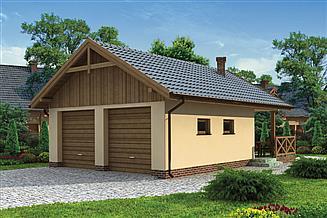 Projekt grilla / wędzarni G188 garaż dwustanowiskowy z wędzarnikiem
