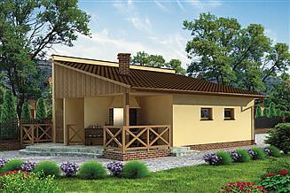 Projekt grilla / wędzarni G190 garaż dwustanowiskowy z werandą