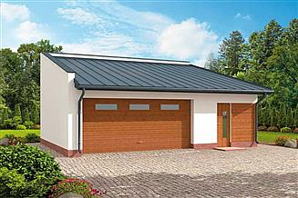Projekt garażu G294 garaż dwustanowiskowy z pomieszczeniem gospodarczym
