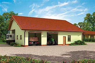 Projekt garażu G232 garaż trzystanowiskowy z pomieszczeniem gospodarczym