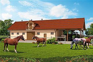 Projekt stajni S42 Stajnia dla koni - 4 boksy