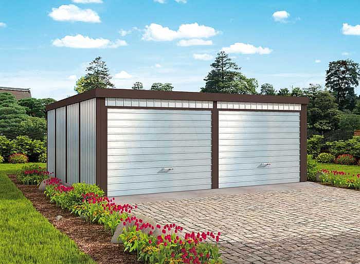 Projekt Garażu Gb26 Garaż Blaszany Dwustanowiskowy Z Pomieszczeniem