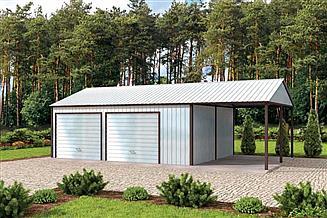 Projekt garażu GB28 projekt garażu blaszanego z wiatą