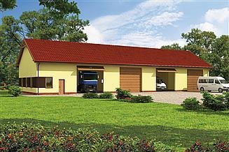 Projekt garażu G221 garaż czterostanowiskowy z pomieszczeniami gospodarczymi