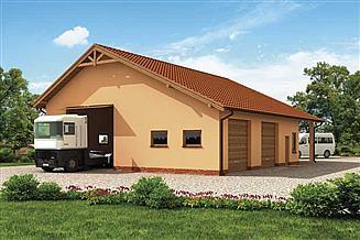 Projekt garażu G226 garaż trzysstanowiskowy z pomieszczeniami gospodarczymi