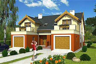 Projekt domu Magda z garażem 1-st. bliźniak [A-BL]