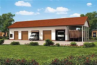 Projekt garażu G225 garaż czterostanowiskowy z pomieszczeniami gospodarczymi