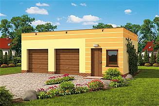 Projekt garażu G85a garaż dwustanowiskowy z pomieszczeniem gospodarczym