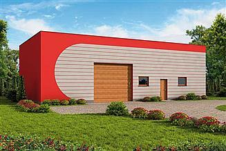 Projekt garażu G242 garaż z pomieszczeniem gospodarczym