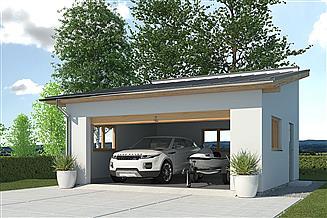 Projekt garażu APG-2 B - budynek gospodarczy