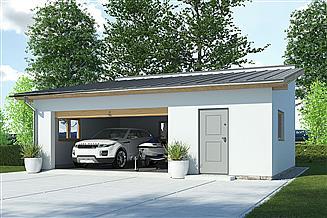 Projekt garażu APG-2 D - budynek gospodarczy