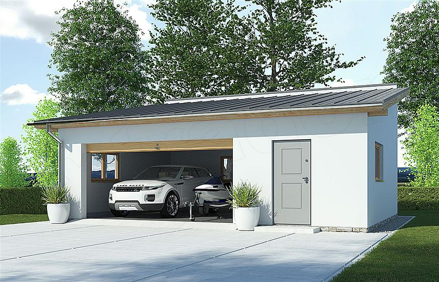 Projekt Domu G97 Szkielet Drewniany Garaż Dwustanowiskowy