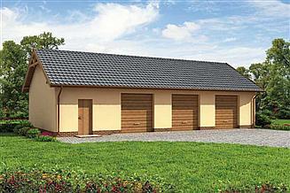 Projekt garażu G217 garaż trzystanowiskowy z pomieszczeniami gospodarczymi