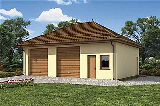 Projekt garażu G199 garaż dwustanowiskowy z pomieszczeniem gospodarczym