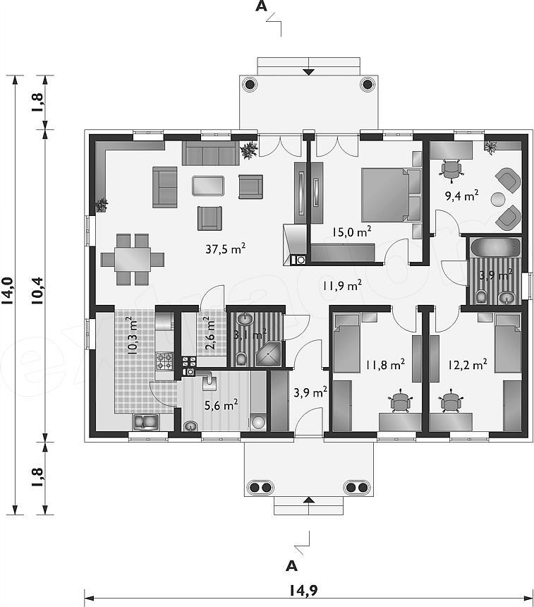 Projekt domu Aleksandria Bona - murowana – beton komórkowy 118,8 m2 - koszt budowy 217 tys. zł ...
