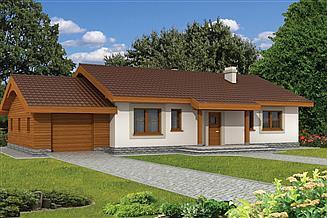Projekt domu Anulka z garażem w technologii drewnianej