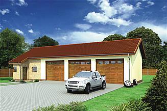 Projekt magazynu Murator GMC28 Budynek garażowo-magazynowy z częścią pomocniczą