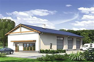 Projekt magazynu Murator GM08 Budynek garażowo-magazynowy z częścią pomocniczą