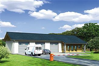 Projekt garażu Murator GMC38 Budynek garażowo-magazynowy z pom. pomocniczymi