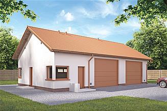Projekt garażu Murator GMC33a Budynek garażowo-magazynowy z pom. pomocniczymi