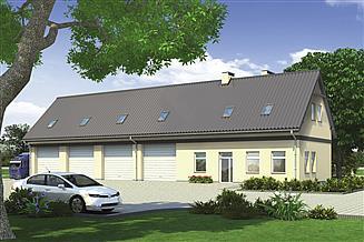 Projekt magazynu Murator GM06 Budynek garażowo-magazynowy z częścią biurową i poddaszem gospodarczym