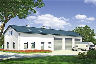 Projekt magazynu Murator GM05 Budynek garażowo-magazynowy z częścią pomocniczą i poddaszem gospodarczym