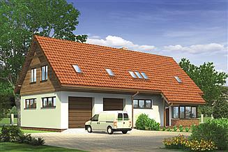 Projekt magazynu Murator GM07 Budynek garażowo-magazynowy z poddaszem mieszkalnym
