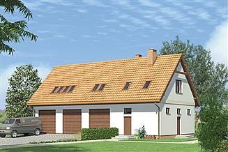 Projekt magazynu Murator GM04 Budynek garażowo-magazynowy z poddaszem mieszkalnym
