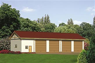 Projekt garażu Murator GM01 Budynek garażowo-magazynowy z pomieszczeniem gospodarczym
