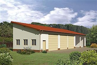 Projekt garażu Murator GMC02a Budynek garażowo-magazynowy z wiatą garażowo-magazynową