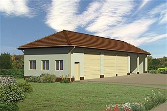 Projekt garażu Murator GMC02b Budynek garażowo-magazynowy z wiatą garażowo-magazynową