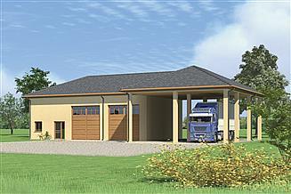 Projekt magazynu Murator GMC17 Budynek garażowo-magazynowy z wiatą i pom. pomocniczymi