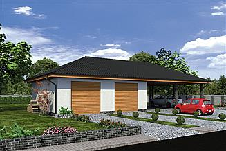 Projekt magazynu Murator GMC34 Budynek garażowo-magazynowy z wiatą